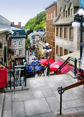 Digital Art - View From The Stairs Old Quebec City  by Ann Powell