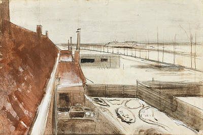 Vincent Van Gogh Drawing - View From The Window Of Vincent's Studio In Winter by Vincent van Gogh