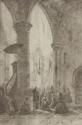 View In A Church, Eberhard Cornelis Rahms Art Print