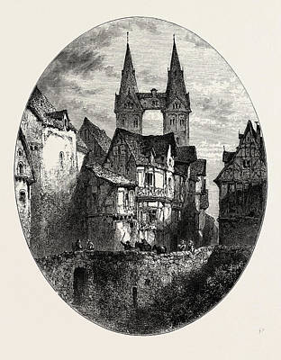 Outlook Drawing - View In Boppart, The Rhine, Germany by German School