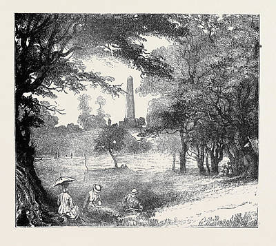 Phoenix Drawing - View In Phoenix Park, Dublin by Irish School
