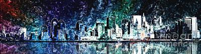 City Sunset Digital Art - View New York City At Night by Gaia Ragu