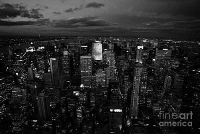 View North At Dusk Towards Central Park New York City Night Cityscape Art Print