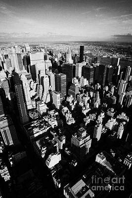 View North East Of Manhattan Queens East River From Observation Deck Empire State Building New York Print by Joe Fox