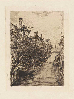 Overhang Drawing - View Of A Canal In Amsterdam, Frans Schikkinger by Frans Schikkinger