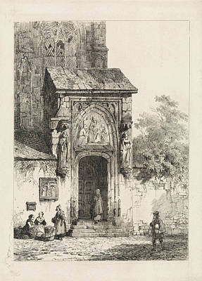 Portal Drawing - View Of A Church Portal, Cornelis Springer by Quint Lox