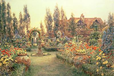 Tudor Painting - View Of A Country House And Garden by Ernest Arthur Rowe