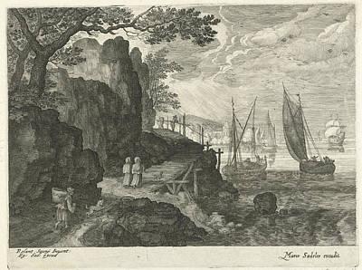 Harbor Drawing - View Of A Harbor, Aegidius Sadeler by Quint Lox
