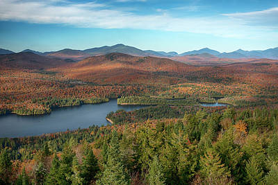 Adirondack Wall Art - Photograph - View Of A Lake From Goodnow Mountain by Panoramic Images