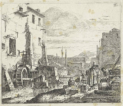 Water Mill Drawing - View Of A Mill, Anonymous by Anonymous