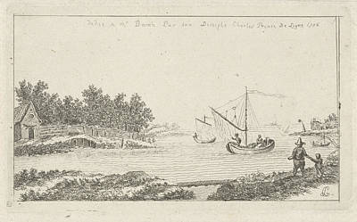 Ligne Drawing - View Of A River, Charles Joseph Emmanuel De Ligne by Charles Joseph Emmanuel De Ligne And Barsch