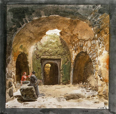 Lipari Painting - View Of A Sepulchre In The Underground Grotto On The Island Of Lipari by Jean-Pierre-Louis-Laurent Houel