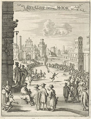 View Of A Square Where A Black Man With Firepit Is Running Art Print