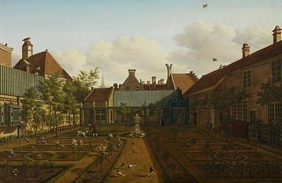 Bed Painting - View Of A Town House Garden In The Hague by Paulus Constantin La Fargue