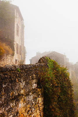 View Of A Town In Fog, Cordes-sur-ciel Art Print