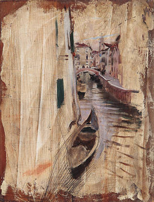 View Of A Venetian Canal Art Print