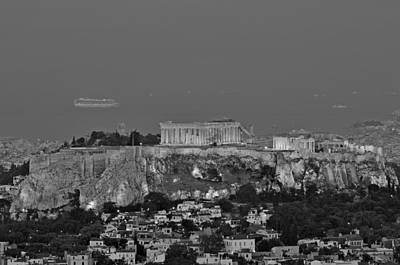 Light Painting - View Of Acropolis From Lycabettus Hill During Dawn by George Atsametakis