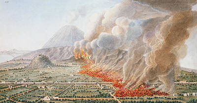 Landscape Drawing - View Of An Eruption Of Mount Vesuvius by Pietro Fabris