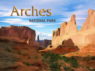 Arches National Park Painting - View Of Arches National Park by Elaine Plesser