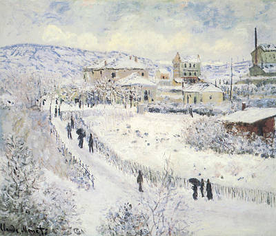 Wintertime Painting - View Of Argenteuil Snow by Claude Monet