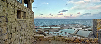 Clouds Over Sea Photograph - View Of Artillery Battery At Seashore by Panoramic Images