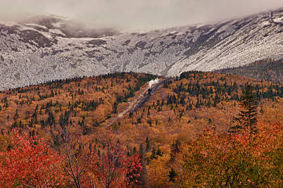 Photograph - View Of Autumn Foliage From The Mount Washington Cog Railway Train by Jeff Folger