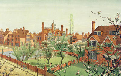 Red Roof Drawing - View Of Bedford Park by English School