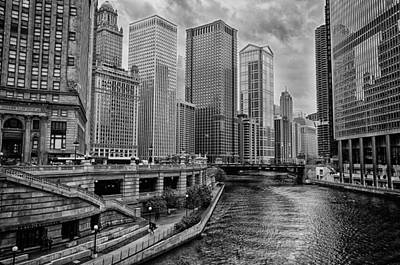 View Of Chicago River Art Print by Mike Burgquist