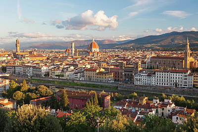 View Of City From Piazza Michelangelo Art Print by Peter Adams