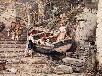 Donkey Drawing - View Of Clovelly, With Stranded Boat by Myles Birket Foster
