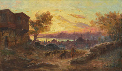 City Sunset Painting - View Of Constantinople by Francois Prieur-Bardin