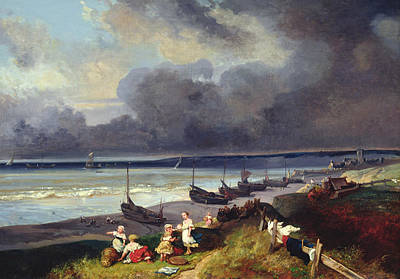 Cloudy Painting - View Of Dieppe by Louis Eugene Gabriel Isabey