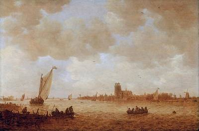 Kirk Painting - View Of Dordrecht With The Grote Kirk Across The Maas by Jan van Goyen
