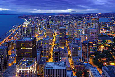 View Of Downtown Seattle Skyline From Columbia Tower Skyview Observatory - Seattle Washington Print by Silvio Ligutti