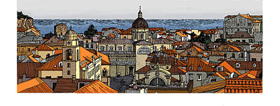 Digital Art - View Of Dubrovnik by David Burkart