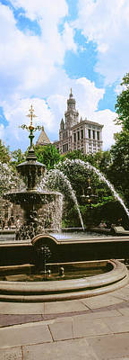 View Of Fountain, City Hall Park Art Print by Panoramic Images