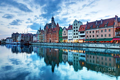 Photograph - View Of Gdansk Old Town And Motlawa River Poland At Sunset by Michal Bednarek