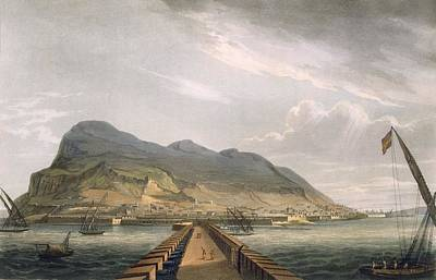 Harbour Drawing - View Of Gibraltar by Thomas Whitcombe