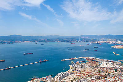 view of Gibralter straight from the top of the rock Art Print by Fizzy Image