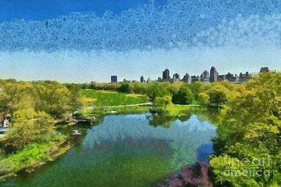 Painting - View Of Great Lawn From Belvedere Castle In Central Park by George Atsametakis