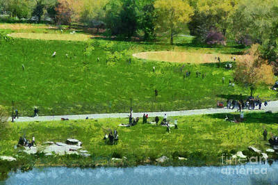 View Of Great Lawn In Central Park Art Print by George Atsametakis