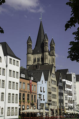 View Of Great St Martins Church In Cologne Art Print