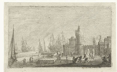 Harbor Drawing - View Of Harbor Fortifications, Matthieu Van Plattenberg by Quint Lox