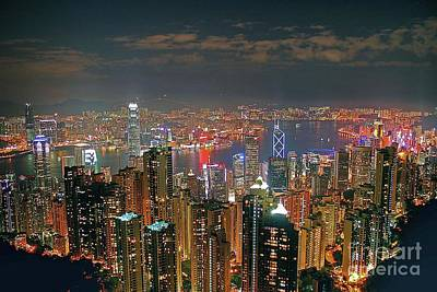 View Of Hong Kong From The Peak Print by Lars Ruecker