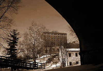 View Of Hotel Bethlehem From Colonial Industrial Quarter - Sepia Art Print by Jacqueline M Lewis