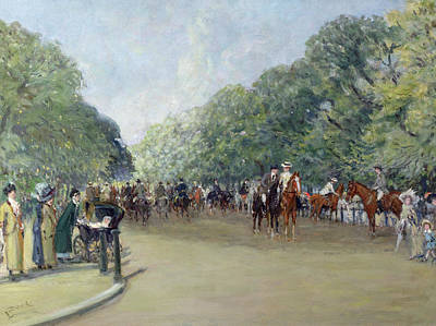 Hyde Park Painting - View Of Hyde Park With Figures On Rotten Row  by Albert Jnr Ludovici