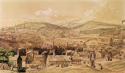 Chimneys Drawing - View Of Industrial Sheffield by English School