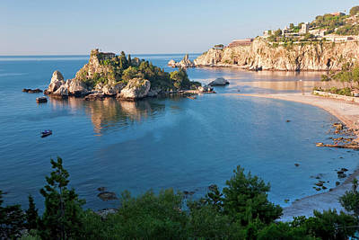 Taormina Photograph - View Of Isola Bella Island, Taormina by Peter Adams