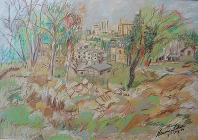Drawing - View Of Jerusalem From Talpiot by Esther Newman-Cohen