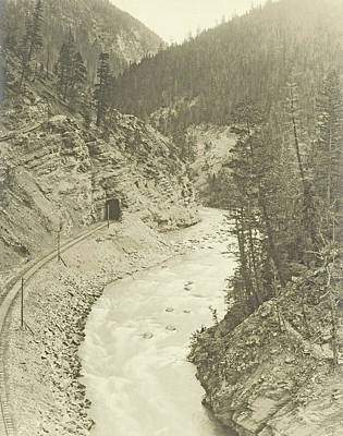 Canyons Drawing - View Of Kicking Horse Canyon And The Canadian Pacific by Artokoloro